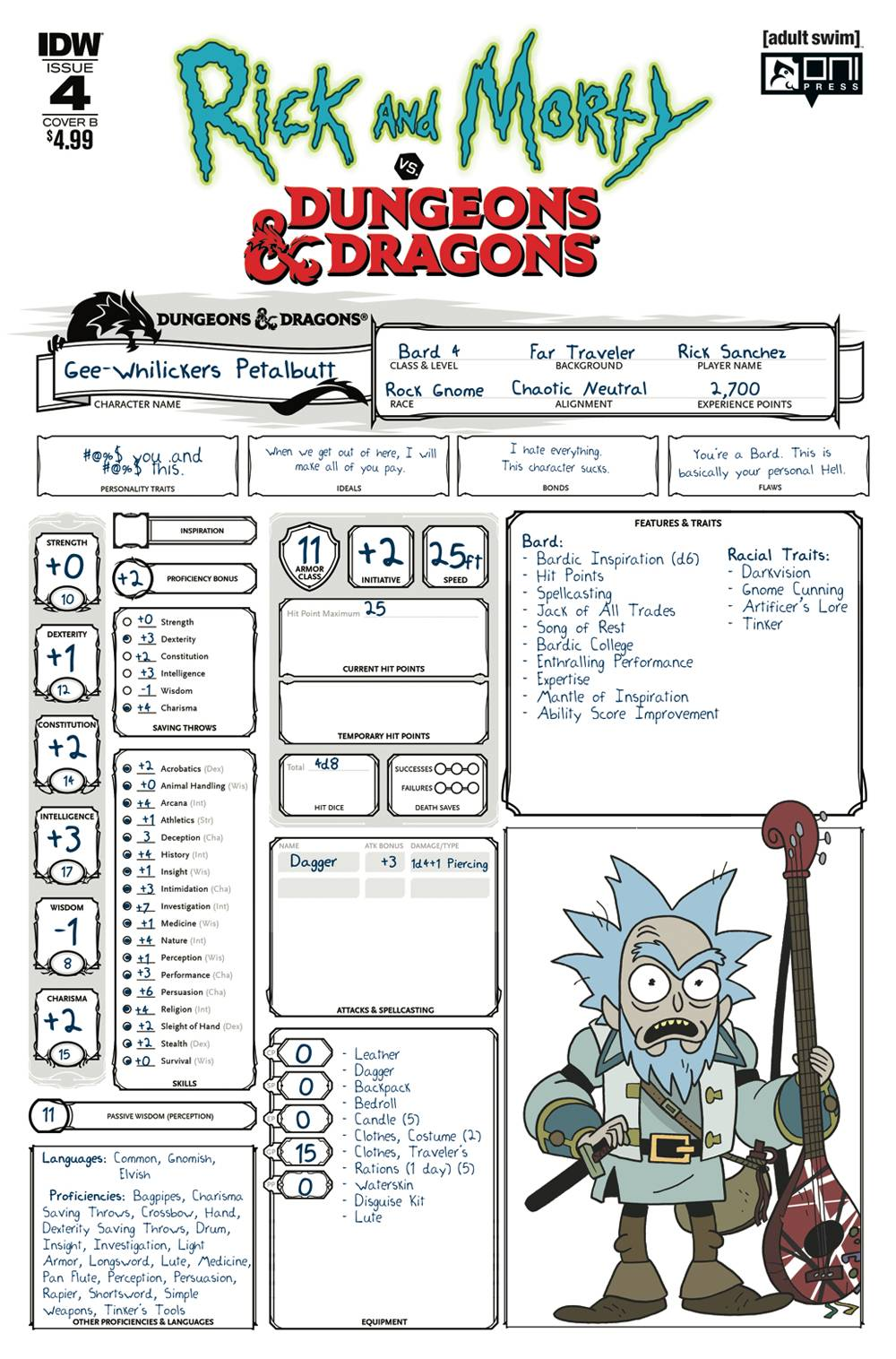 Rick Morty Vs Dungeons Dragons 4 Cover B Little