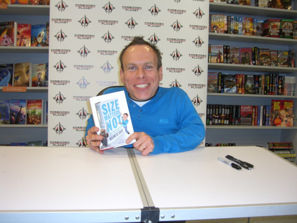 [Warwick Davis at Forbidden Planet megastore ]