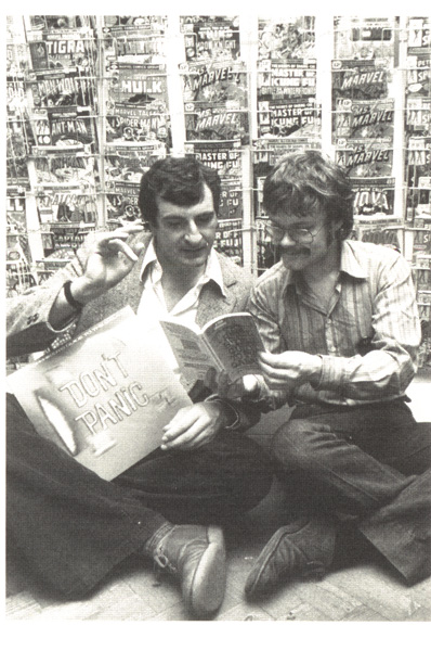 [Douglas Adams and Forbidden Planet Founder, Nick Landau, geek out at FP in 1980! ]