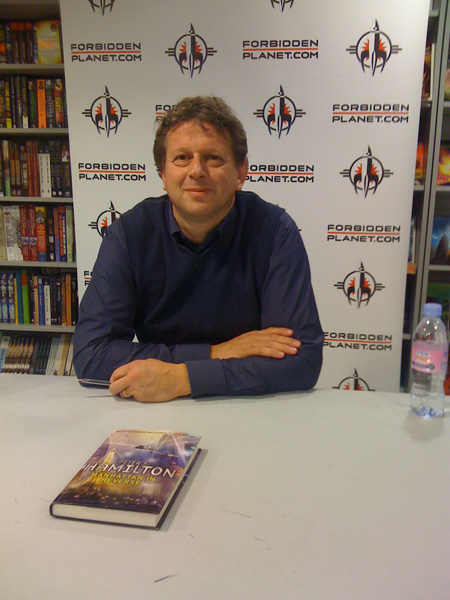 [Peter F Hamilton at Forbidden Planet Megastore, London ]